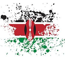 Kenya Flag Ink Splatter Photographic Print