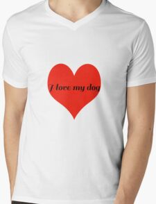 I Love My Dog with Love Heart Mens V-Neck T-Shirt