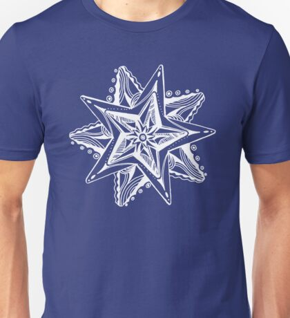 Star Tangles 4 White Lines - an Aussie Tangle by Heather - See Description Note for Colour Options Unisex T-Shirt