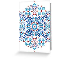 Folk Floral Tale in White Greeting Card