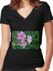 Pink flowers macro, natural background. Women's Fitted V-Neck T-Shirt