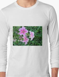 Pink flowers macro, natural background. Long Sleeve T-Shirt