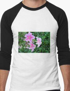Pink flowers macro, natural background. Men's Baseball ¾ T-Shirt