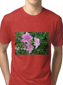 Pink flowers macro, natural background. Tri-blend T-Shirt