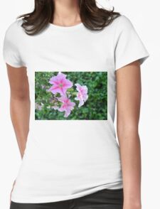 Pink flowers macro, natural background. Womens Fitted T-Shirt