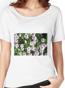 Pink flowers bush in the garden. Women's Relaxed Fit T-Shirt