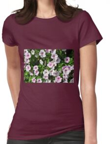 Pink flowers bush in the garden. Womens Fitted T-Shirt
