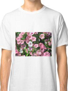 Pink flowers bush in the garden. Classic T-Shirt