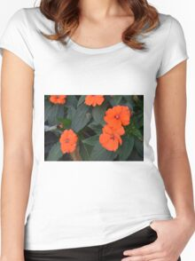 Orange flowers and green leaves bush. Women's Fitted Scoop T-Shirt