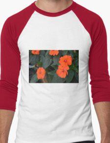 Orange flowers and green leaves bush. Men's Baseball ¾ T-Shirt