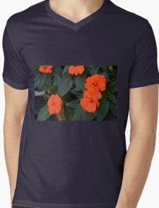 Orange flowers and green leaves bush. Mens V-Neck T-Shirt
