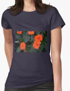 Orange flowers and green leaves bush. Womens T-Shirt