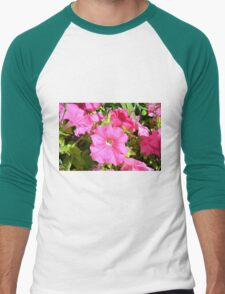 Pink flowers bush in the garden. Men's Baseball ¾ T-Shirt