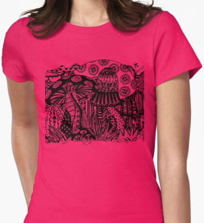 Mushrooms 1 Aussie Tangle Transparent by Heather Holland - See Description for Colour Options Womens Fitted T-Shirt