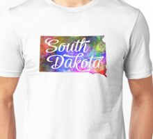 South Dakota US State in watercolor text cut out. Unisex T-Shirt