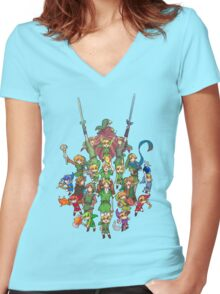 The Legend of Zelda 30th anniversary Women's Fitted V-Neck T-Shirt