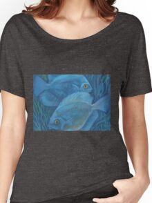 Blue discuses, pastel painting, underwater art Women's Relaxed Fit T-Shirt