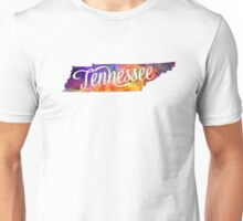 Tennessee US State in watercolor text cut out Unisex T-Shirt