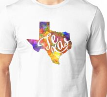 Texas US State in watercolor text cut out Unisex T-Shirt