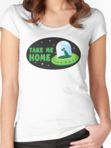 Take me HOME with cute Alien spacecraft Women's Fitted Scoop T-Shirt