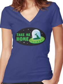 Take me HOME with cute Alien spacecraft Women's Fitted V-Neck T-Shirt
