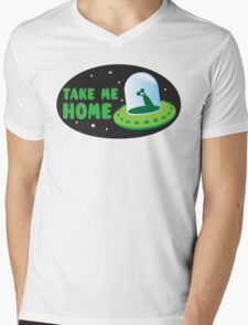 Take me HOME with cute Alien spacecraft Mens V-Neck T-Shirt