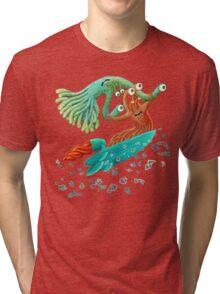 Surfing Monster Fun Tri-blend T-Shirt