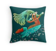 Surfing Monster Fun Throw Pillow