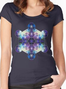Metatron's Cube blue Women's Fitted Scoop T-Shirt