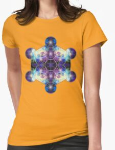 Metatron's Cube blue Womens Fitted T-Shirt