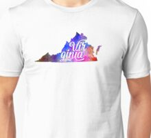 Virginia US State in watercolor text cut out Unisex T-Shirt