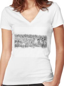 Winter cottages Women's Fitted V-Neck T-Shirt