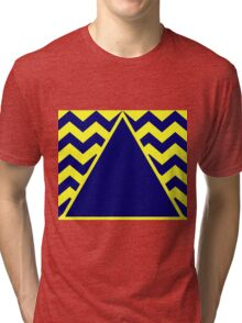 Triangle on Zig Zags Navy &Yellow Tri-blend T-Shirt
