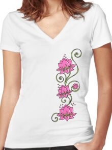 Lotus Flower Symbol Wisdom & Enlightenment Buddhism Zen Women's Fitted V-Neck T-Shirt