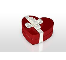 one red gift box  Photographic Print