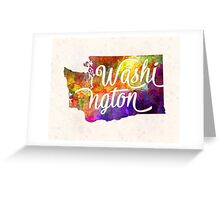 Washington US State in watercolor text cut out Greeting Card