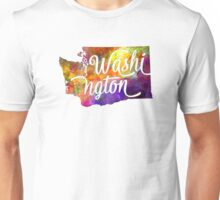 Washington US State in watercolor text cut out Unisex T-Shirt