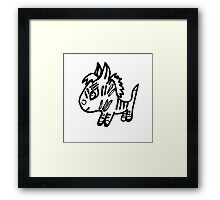 the little Zebra is made with black lines Framed Print