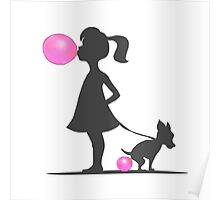 little girl and pooping dog Poster