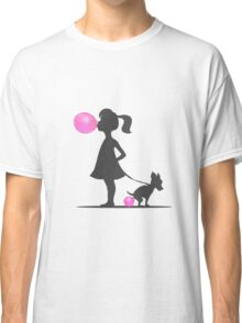 little girl and pooping dog Classic T-Shirt
