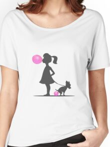 little girl and pooping dog Women's Relaxed Fit T-Shirt