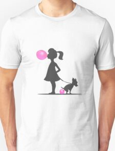 little girl and pooping dog Unisex T-Shirt