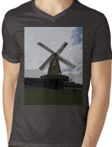 Woodchurch windmill in cartoon graphic  Mens V-Neck T-Shirt