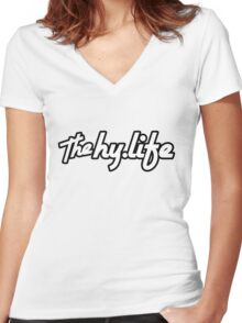 The Hy.Life White Logo with Black Background Women's Fitted V-Neck T-Shirt