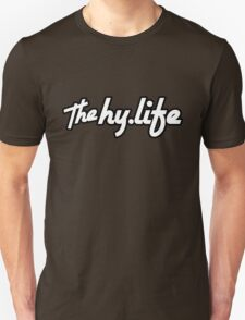 The Hy.Life White Logo with Black Background Unisex T-Shirt