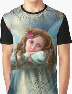 Beautiful young fairy  butterfly on  swing. Illustration.        Graphic T-Shirt