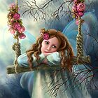 Beautiful young fairy  butterfly on  swing. Illustration.        by Alena Lazareva