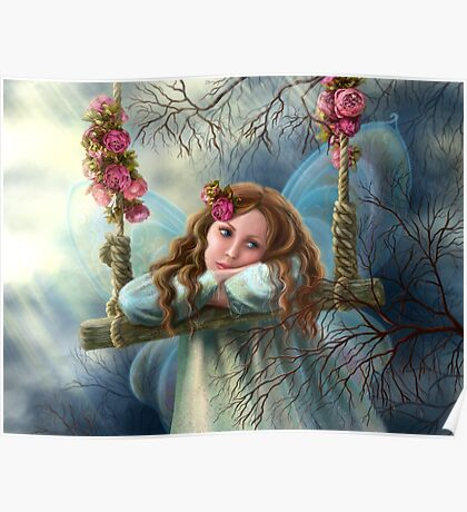 Beautiful young fairy  butterfly on  swing. Illustration.        Poster