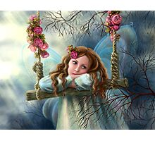 Beautiful young fairy  butterfly on  swing. Illustration.        Photographic Print