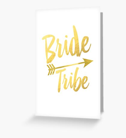Bride Tribe Gold Foil Wedding Bachelorette Party Hens Night Favors Gifts Tribal Arrow Greeting Card